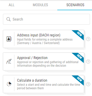 Display of scenarios in the smapOne App Designer